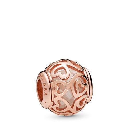 Hearts Filigree Charm, PANDORA Rose™ & Clear CZ, PANDORA Rose, Cubic Zirconia - PANDORA - #787348CZ
