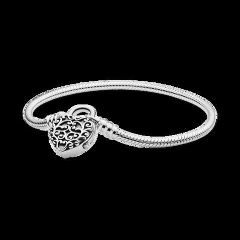 Pandora Moments Regal Heart Padlock Clasp Snake Chain Bracelet