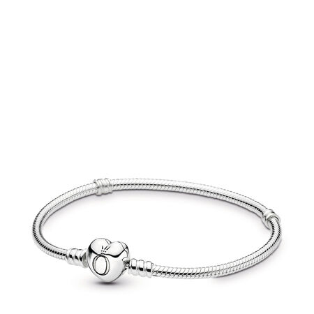 Silver Charm Bracelet with Heart Clasp