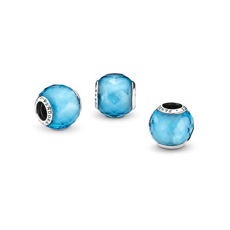 Geometric Facets, Sky-Blue Crystal, Sterling silver, Blue, Crystal - PANDORA - #791722NBS