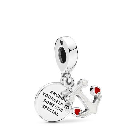 Anchor of Love Dangle Charm, Red & Black Enamel, Sterling silver, Enamel, Red, 68 - PANDORA - #797208ENMX