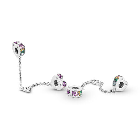 Multi-Coloured Arcs of Love Safety Chain, Multi-coloured CZ & Crystals