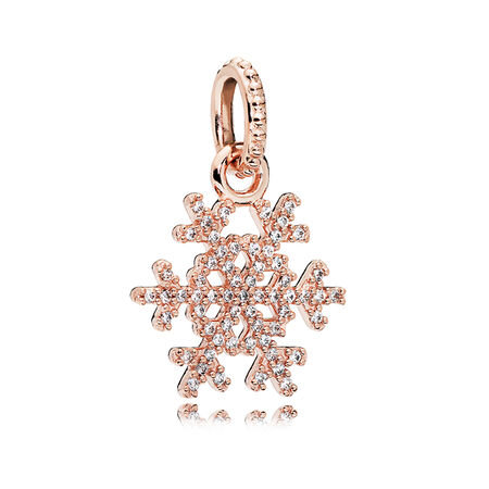 Sparkling Snowflake Pendant, PANDORA Rose™ & Clear CZ