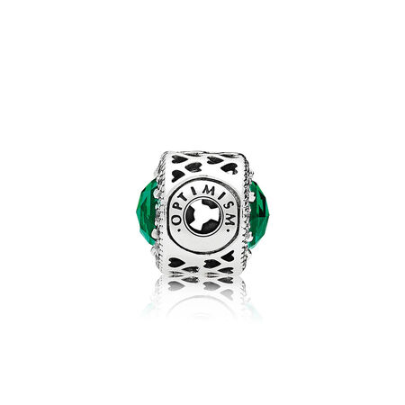 Charm OPTIMISME, cristaux vert royal et cz incolore