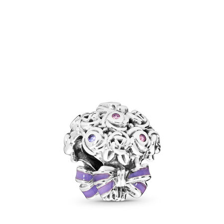 Celebration Bouquet Charm, Lilac & Rose Pink Crystals & Purple Enamel, Sterling silver, Enamel, Pink, Crystal - PANDORA - #797260NLC