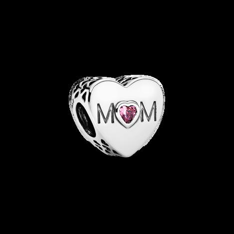 Pink Mom Heart Charm