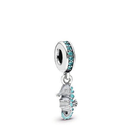Hippocampe tropical, cz turquoise et émail blanc et turquoise, Argent sterling, émail, Turquoise, Zircon cubique - PANDORA - #791311MCZ