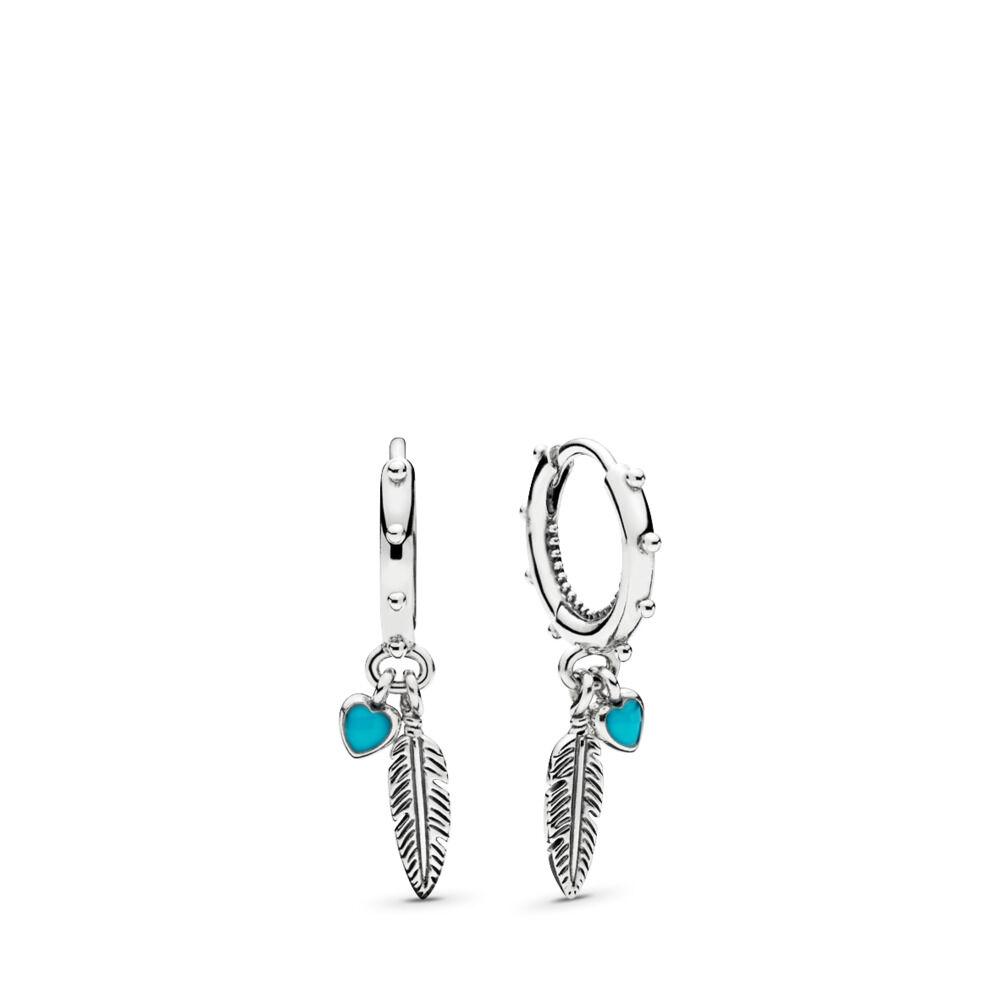 b377e999e Spiritual Feathers Dangle Earrings, Turquoise Enamel
