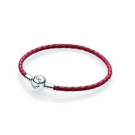 Bracelet à charm en cuir tissé  rouge