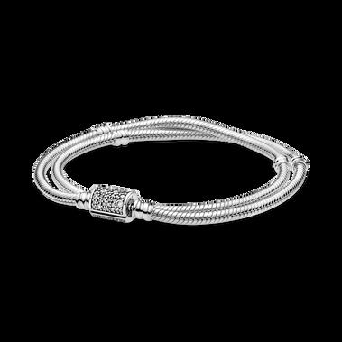 Pandora Moments Double Wrap Barrel Clasp Snake Chain Bracelet/Necklace