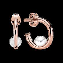 Offset Freshwater Cultured Pearl Hoop Earrings - FINAL SALE