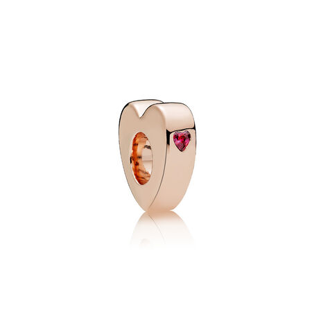 Two Hearts Spacer, PANDORA Rose™ & Red CZ