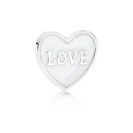 Plaque en cœur « Love », petite, argent sterling et émail, Argent sterling, émail, Blanc, Aucune pierre - PANDORA - #792112EN23