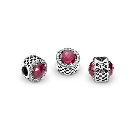 Cœurs radieux, cristal cerise et CZ incolore, Argent sterling, Aucun autre matériel, Rose, Pierres mélangées - PANDORA - #791725NCC