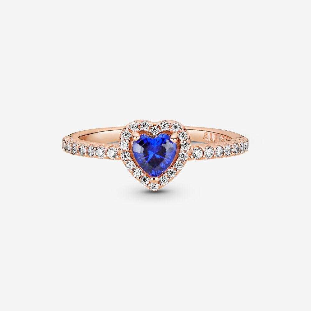 Bague scintillante Cœur surélevé bleu | Plaqué or rose | Pandora ...