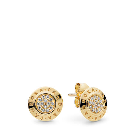 PANDORA Signature Earrings, PANDORA Shine™ & Clear CZ, 18ct gold-plated sterling silver, Cubic Zirconia - PANDORA - #260559CZ
