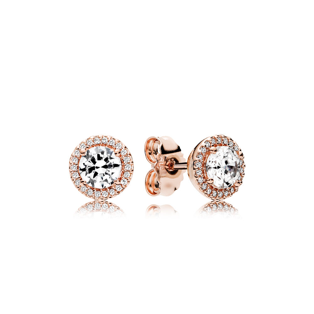 Classic Elegance Stud Earrings Pandora Rose Amp Clear Cz