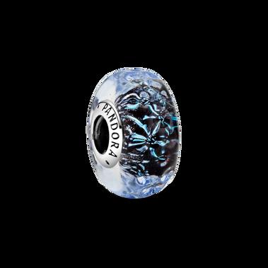 Charm Océan en verre de Murano à vagues bleu foncé