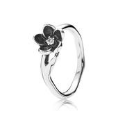 Mystic Floral Stackable Ring, CZ & Black Enamel