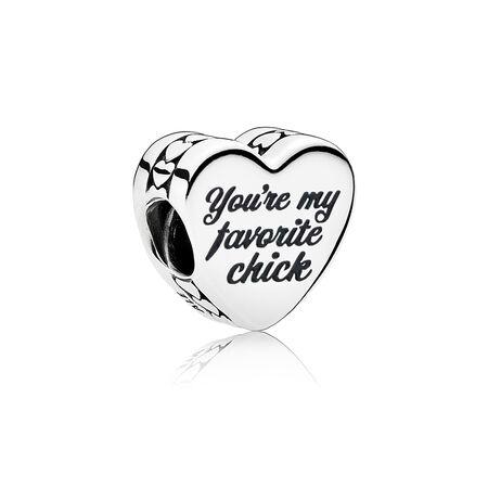 Charm Tu es ma préférée, émaux mixtes, Sterling Silver, Pink, Cubic Zirconia - PANDORA - #ENG792015_9