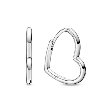 Boucles d'oreilles créoles cœur asymétrique