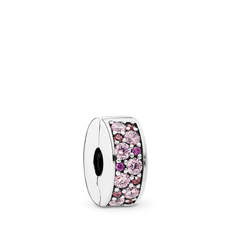 Mosaic Shining Elegance, Fancy Pink & Fancy Purple CZ, Sterling silver, Silicone, Pink, Cubic Zirconia - PANDORA - #791817CZSMX