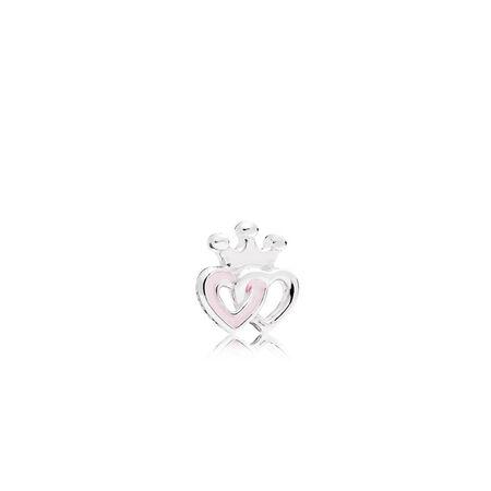 Mini cœurs couronnés, émail rose doux