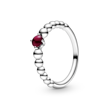 January Dark Red Beaded Ring