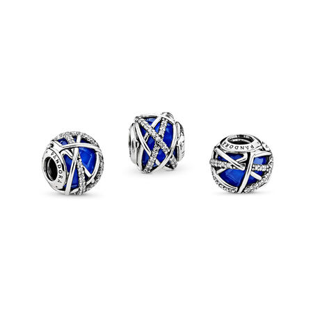 Galaxy Charm, Royal Blue Crystal & Clear CZ, Sterling silver, Blue, Mixed stones - PANDORA - #796361NCB