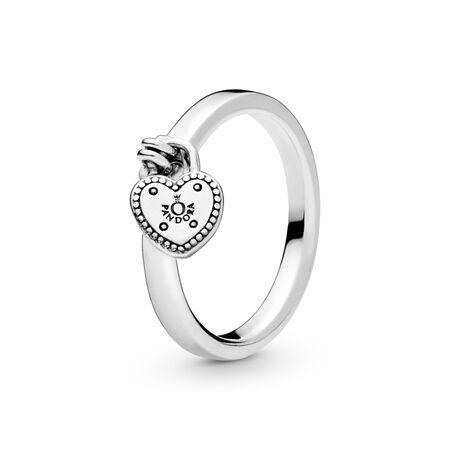 Heart-Shaped Padlock Ring, Sterling silver - PANDORA - #196571