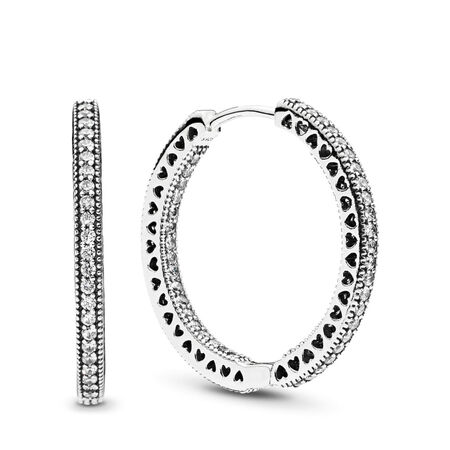 Hearts of PANDORA, Clear CZ 27mm, Sterling silver, Cubic Zirconia - PANDORA - #296319CZ
