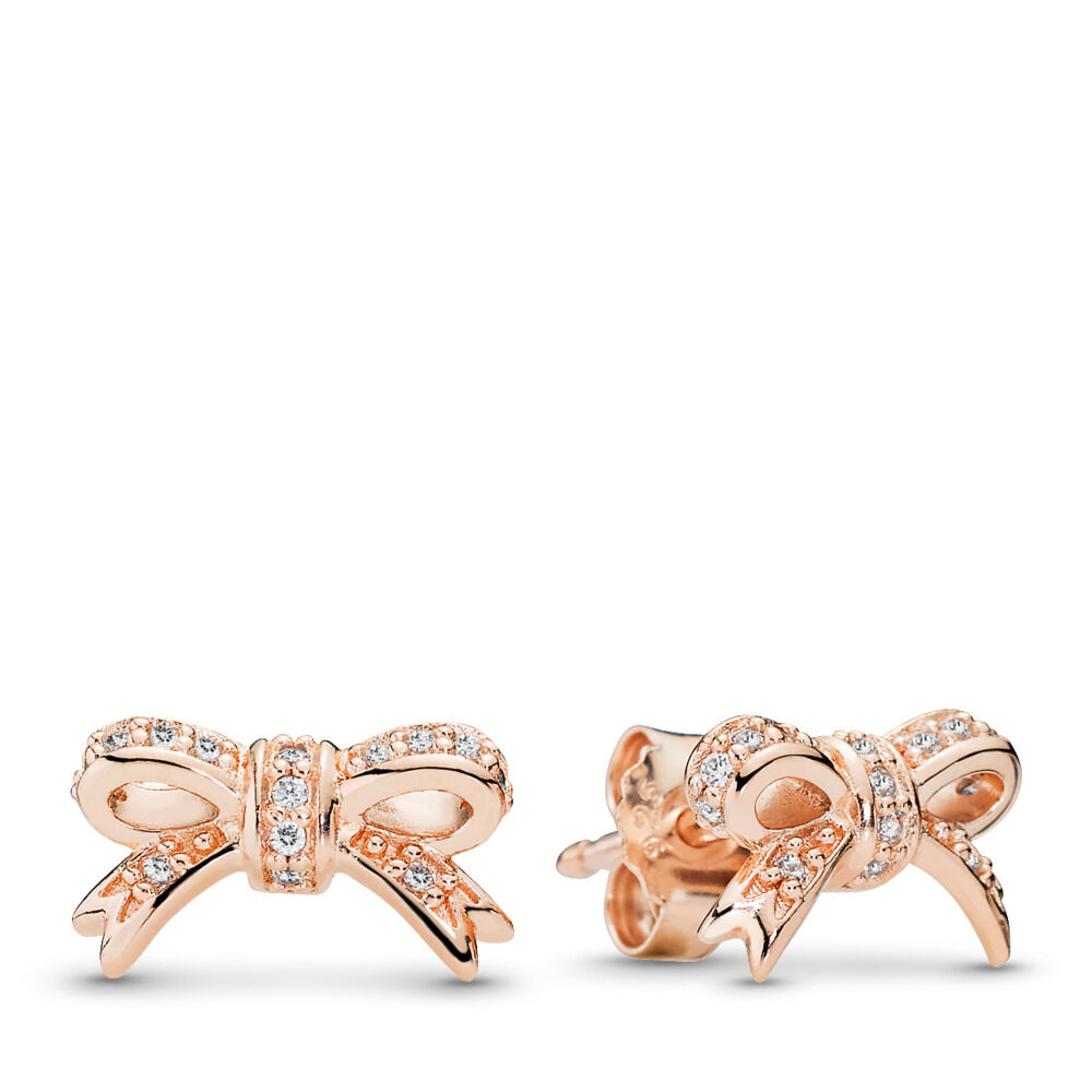cd2db4ee4 Sparkling Bow Stud Earrings, PANDORA Rose™ & CZ
