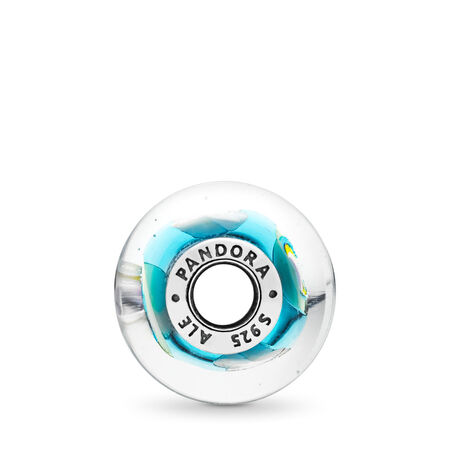 Iridescent Rainbow Murano Glass Charm, Sterling silver, Glass, Blue - PANDORA - #797013