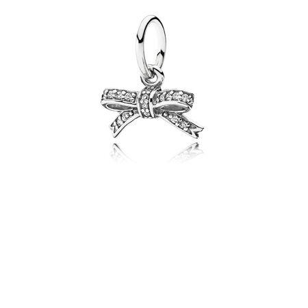 Sparkling Bow Pendant, Clear CZ