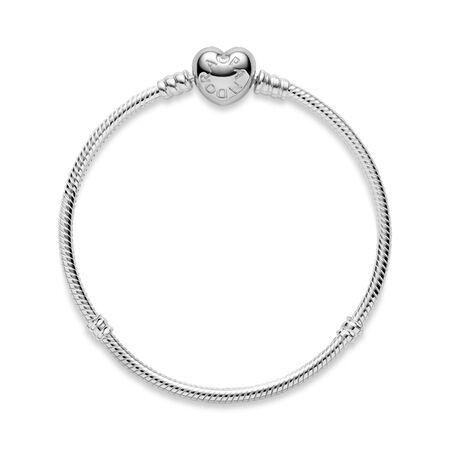 Moments Heart & Snake Chain Bracelet, Sterling silver - PANDORA - #590719
