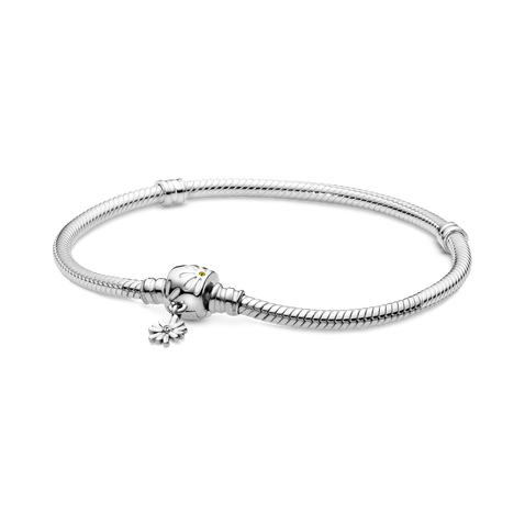 Bracelet à fermoir à marguerite et à chaîne serpentine PandoraMoments