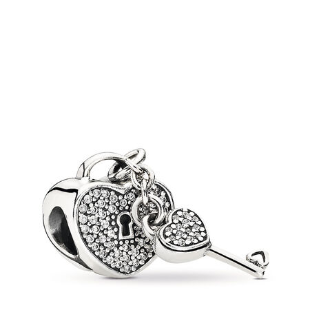 Lock Of Love, Clear CZ, Sterling silver, Cubic Zirconia - PANDORA - #791429CZ