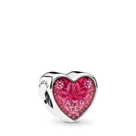 Cœur d'amour latin, émail cerise translucide, Argent sterling, émail, Rose, Aucune pierre - PANDORA - #792048EN117
