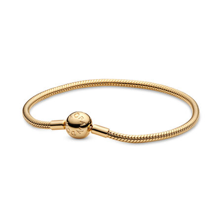 Moments Snake Chain Bracelet, 18ct gold-plated sterling silver - PANDORA - #567107
