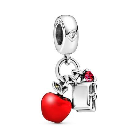 Charm pendentif Disney, Pomme et cœur de Blanche-Neige, cz rouge et vert et émail rouge, Argent sterling, émail, Vert, Pierres mélangées - PANDORA - #797486CZRMX