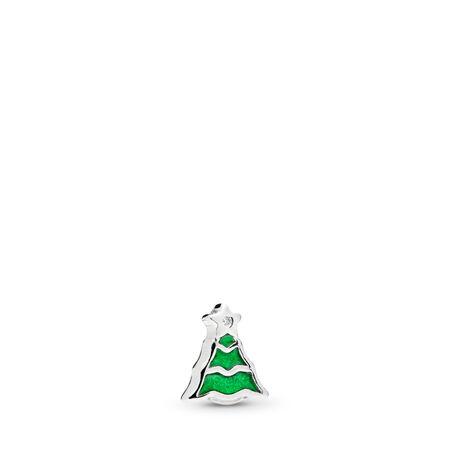 Mini Sapin de Noël, émail vert et cz incolore, Argent sterling, émail, Vert, Zircon cubique - PANDORA - #796395EN25