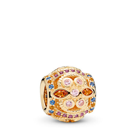 Colour Fresco Charm, 14K Gold & Multi-Coloured Crystals & Pink CZ, Yellow Gold 14 k, Blue, Mixed stones - PANDORA - #756225PCZMX
