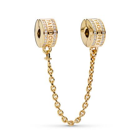 PANDORA Logo Safety Chain, PANDORA Shine™, 18ct gold-plated sterling silver, Silicone, Cubic Zirconia - PANDORA - #767027CZ