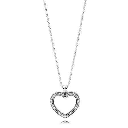 Sparkling PANDORA Floating Heart Locket, Clear CZ