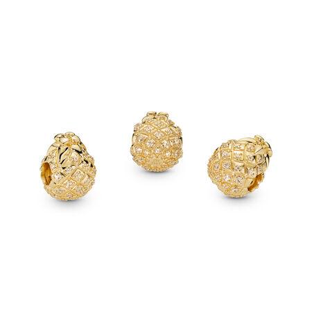 Charm Ananas doré, Or Plaqué 18ct, Aucun autre matériel, Gold, Zircon cubique - PANDORA - #767904CCZ