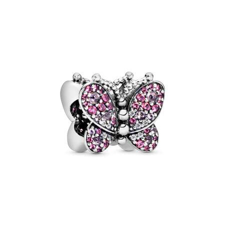Charm Papillon rose éclatant, Argent sterling, Aucun autre matériel, Rose, Pierres mélangées - PANDORA - #797882NCCMX