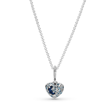 Sparkling Blue Moon & Stars Heart Necklace