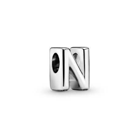 Letter N Charm, Sterling silver - PANDORA - #797468