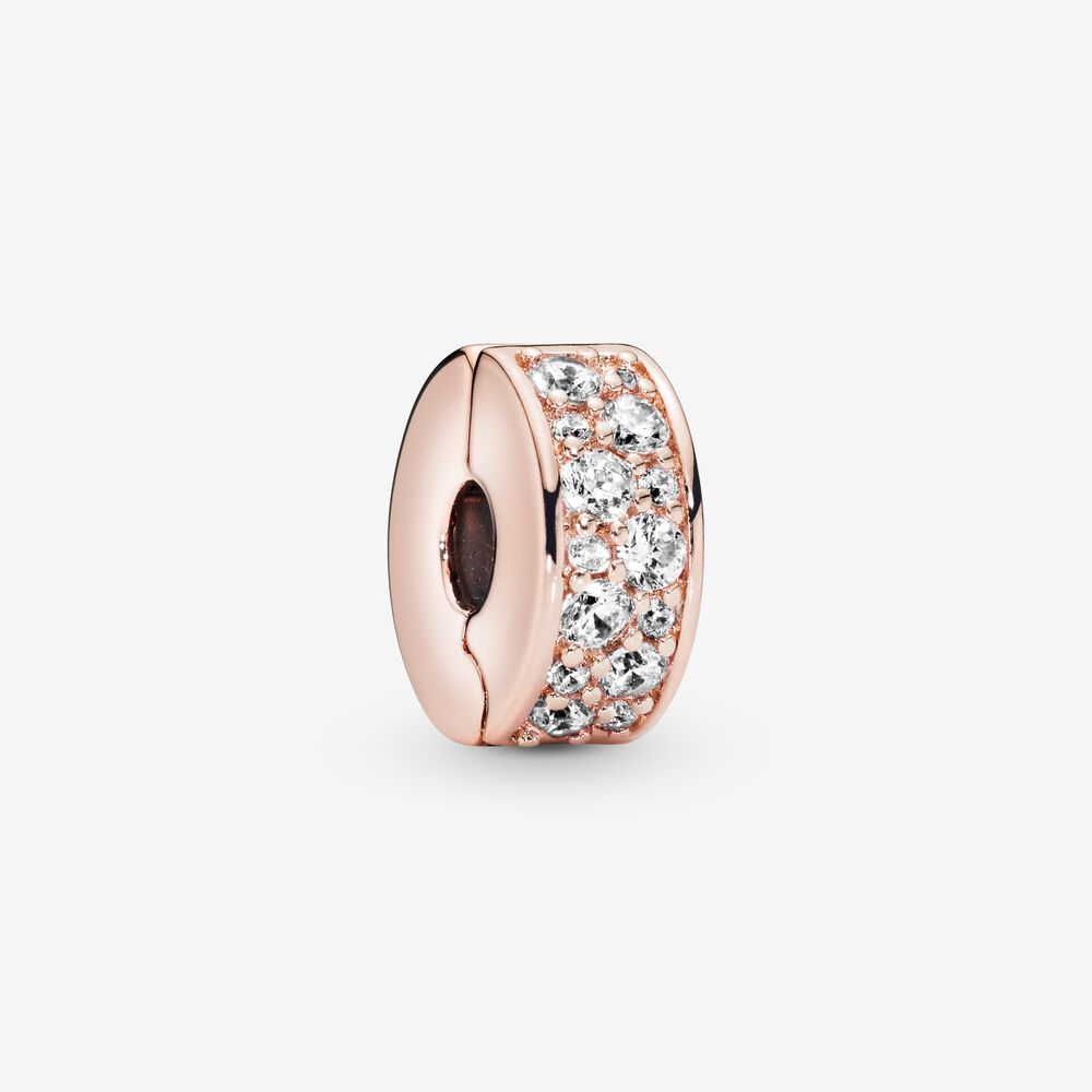 Clear Pavé Clip Charm | Rose gold plated | Pandora Canada