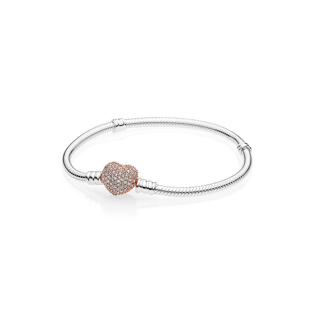 Sterling Silver Charm Bracelet With Pandora Rose Pavé Heart Clasp